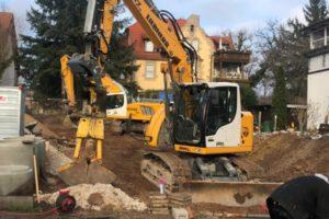 Lindengärten - Dezember 2019: Bauvorbereitung - Kanal- und Erdarbeiten
