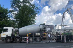 Regnitzterrassen – Juli 2020: Bodenplatte wird betoniert