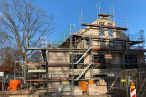 Regnitzterrassen - Januar 2021: Rohbau und Zimmermannsarbeiten abgeschlossen